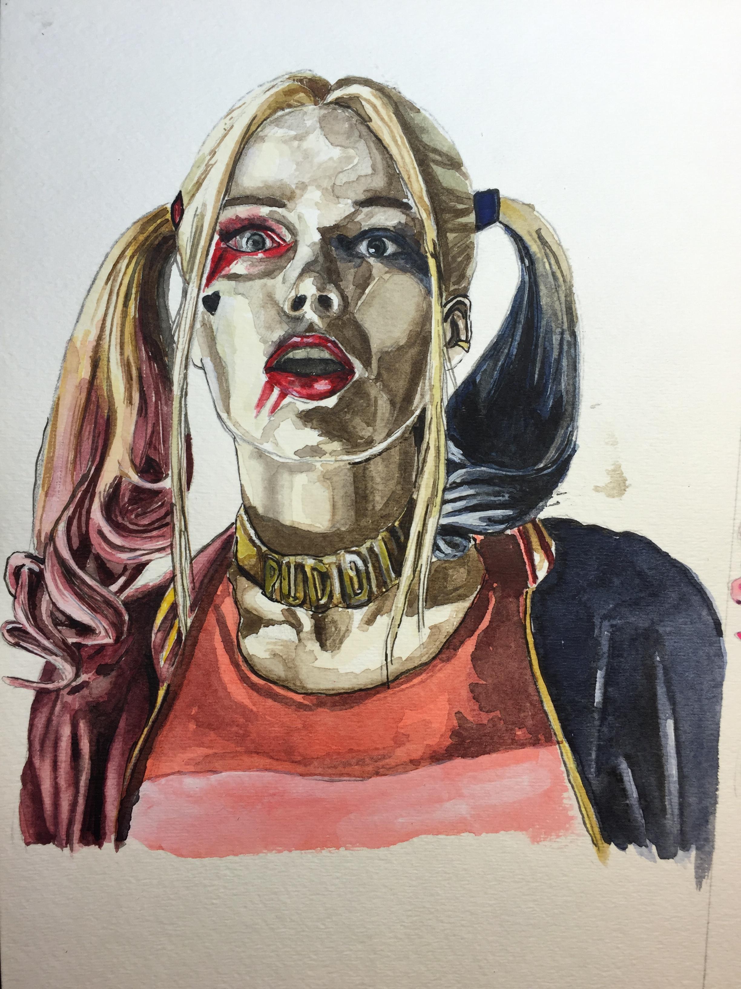 """Harley Quinn Study,"" 2016 7.5 x 11 in. ©Jacob Garcia"