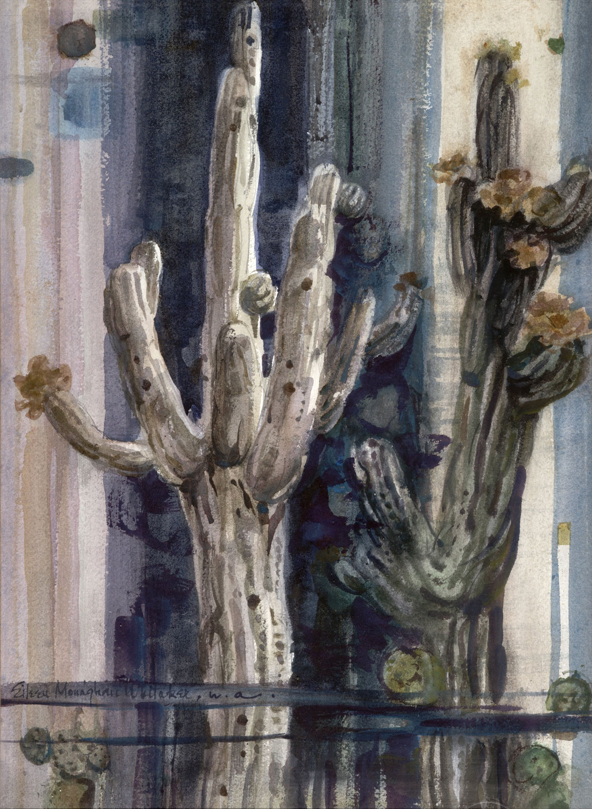 """Saguaro Design"" 1975 © Eileen Monaghan Whitaker 22x16 inches Watercolor"