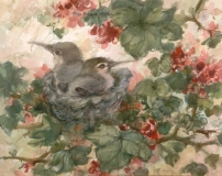 """""""Baby Hummers"""" 1982 © Eileen Monaghan Whitaker 22x27.5 Watercolor"""