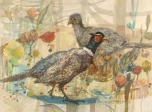 """Pair Of Pheasants"" 1982 © Eileen Monaghan Whitaker N.A. 16x22 inches Watercolor"