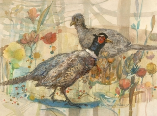 """Pair Of Pheasants"" 1982 © Eileen Monaghan Whitaker N.A. 16x22 inches Watercolor"
