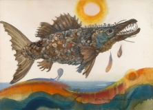 """""""Piscis Faustinius"""" 1982 Eileen Monaghan Whitaker N.A.  16x22 inches Watercolor"""
