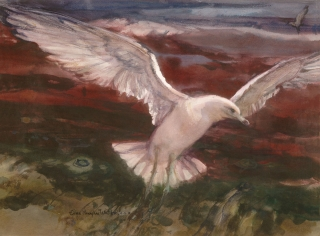 """Soaring"" early 1970s © Eileen Monaghan Whitaker 22x30 inches Watercolor"