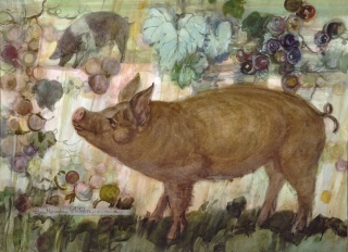"""The Happy Pig"" 1973 © Eileen Monaghan Whitaker 22x30 inches Watercolor"