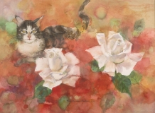 """""""Two Roses and Rosies"""" 1988 © Eileen Monaghan Whitaker 30x22 inches Watercolor"""