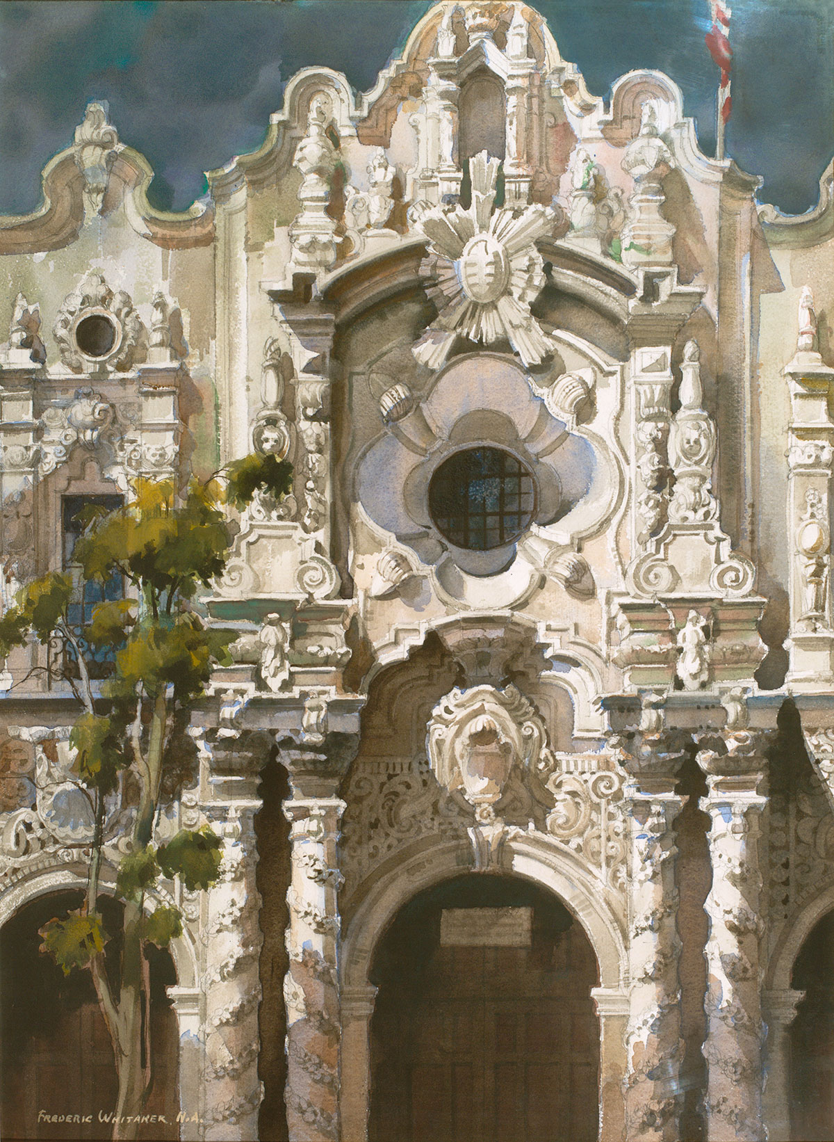 """Baroque Facade"" 1968 © Frederic Whitaker 30x22 inches Watercolor"