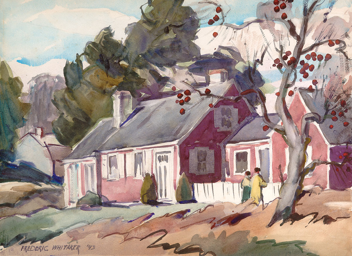 """""""Red House, Apple Tree"""" 1943 © Frederic Whitaker Watercolor"""