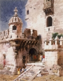 """Belem Tower"" 1956 © Frederic Whitaker 27.5x22 inches Watercolor"