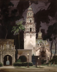 """California Tower, Night"" 1967 © Frederic Whitaker 30x22 inches Watercolor"