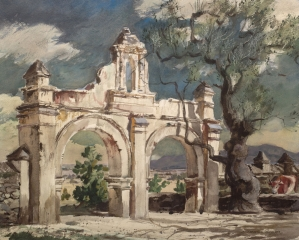 """Gateway, Acolman Monastery""  © Frederic Whitaker (date unknown) 22x27.5 inches Watercolor"
