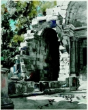 """Temple of Diana"" 1955 © Frederic Whitaker 27.5x22 inches Syracuse University Art Collection, Syracuse, NY. Watercolor"