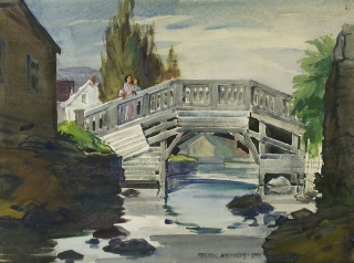 """Bridge Unsafe"" 1946 © Fredreic Whitaker (size unknown) Watercolor"