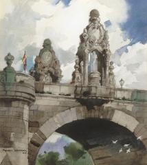 """""""Toledo Bridge"""" 1965 © Frederic Whitaker 22x25 inches Watercolor"""
