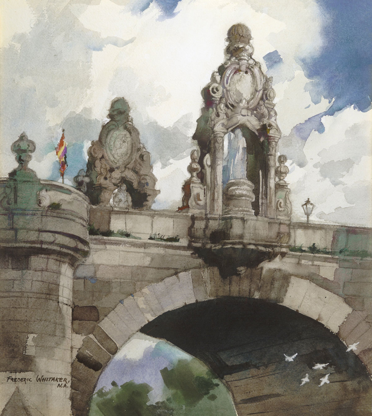 """Toledo Bridge"" 1965 © Frederic Whitaker 22x25 inches Watercolor"