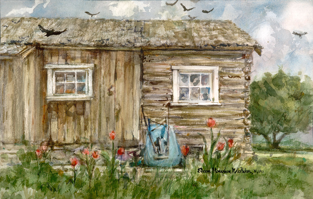 """""""Early Settlers' Cabin"""" 1985 © Eileen Monaghan Whitaker N.A.  14x22 inches Watercolor"""