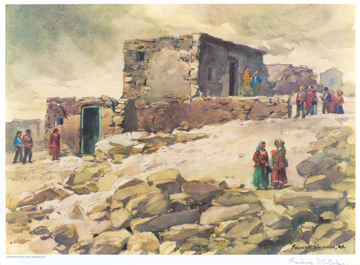 """""""Anticipating the Ceremony"""" 1969 © Frederic Whitaker N.A.  22x30 inches Watercolor"""