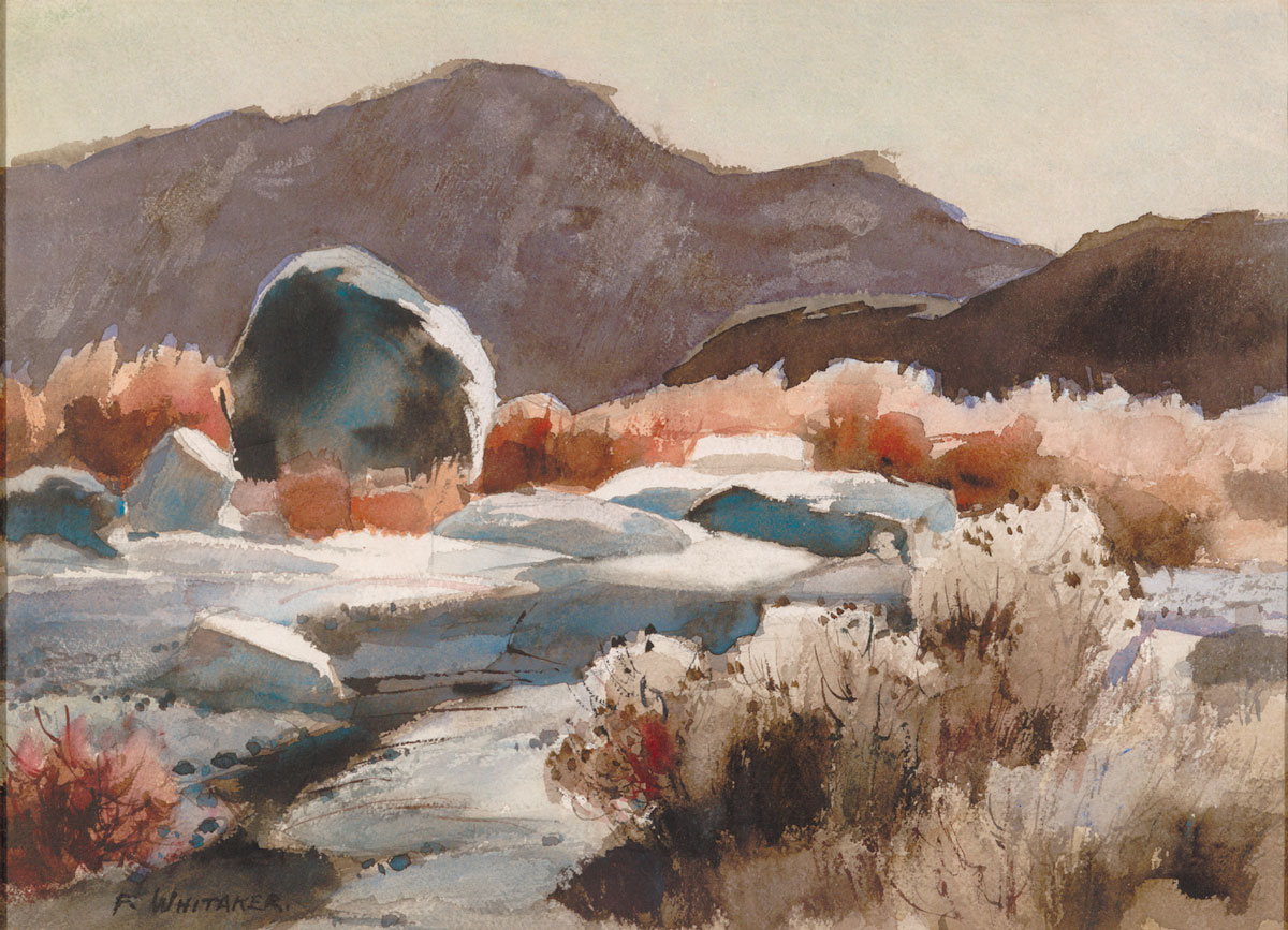 """""""Big Bend Note"""" 1956 © Frederic Whitaker N.A.  16x22 inches Watercolor"""