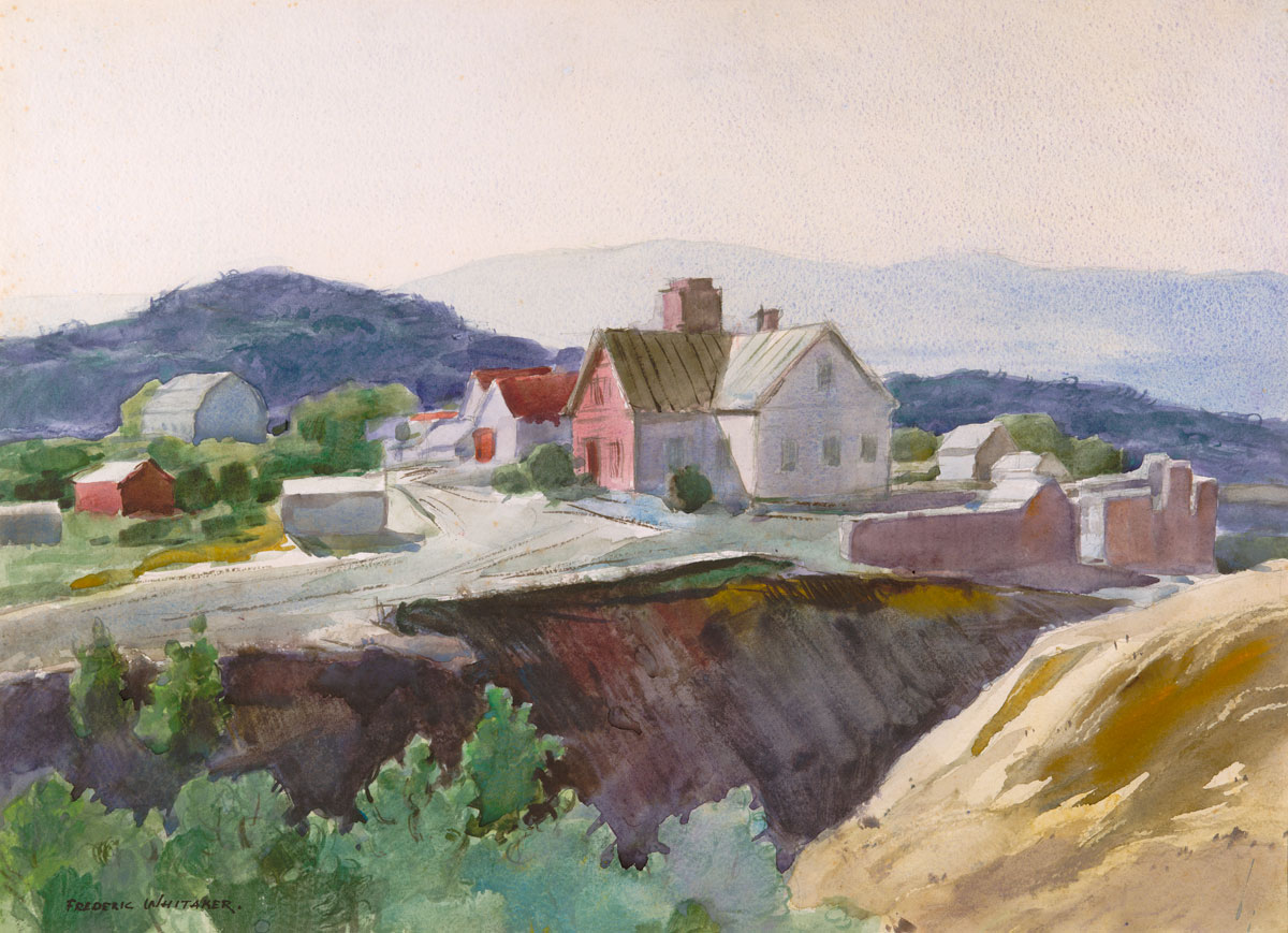 """'House in Las Truchas, New Mexico""""  or """"Sunny Haze"""" 1963 © Frederic Whitaker N.A.  21.5x19.5 inches Watercolor"""
