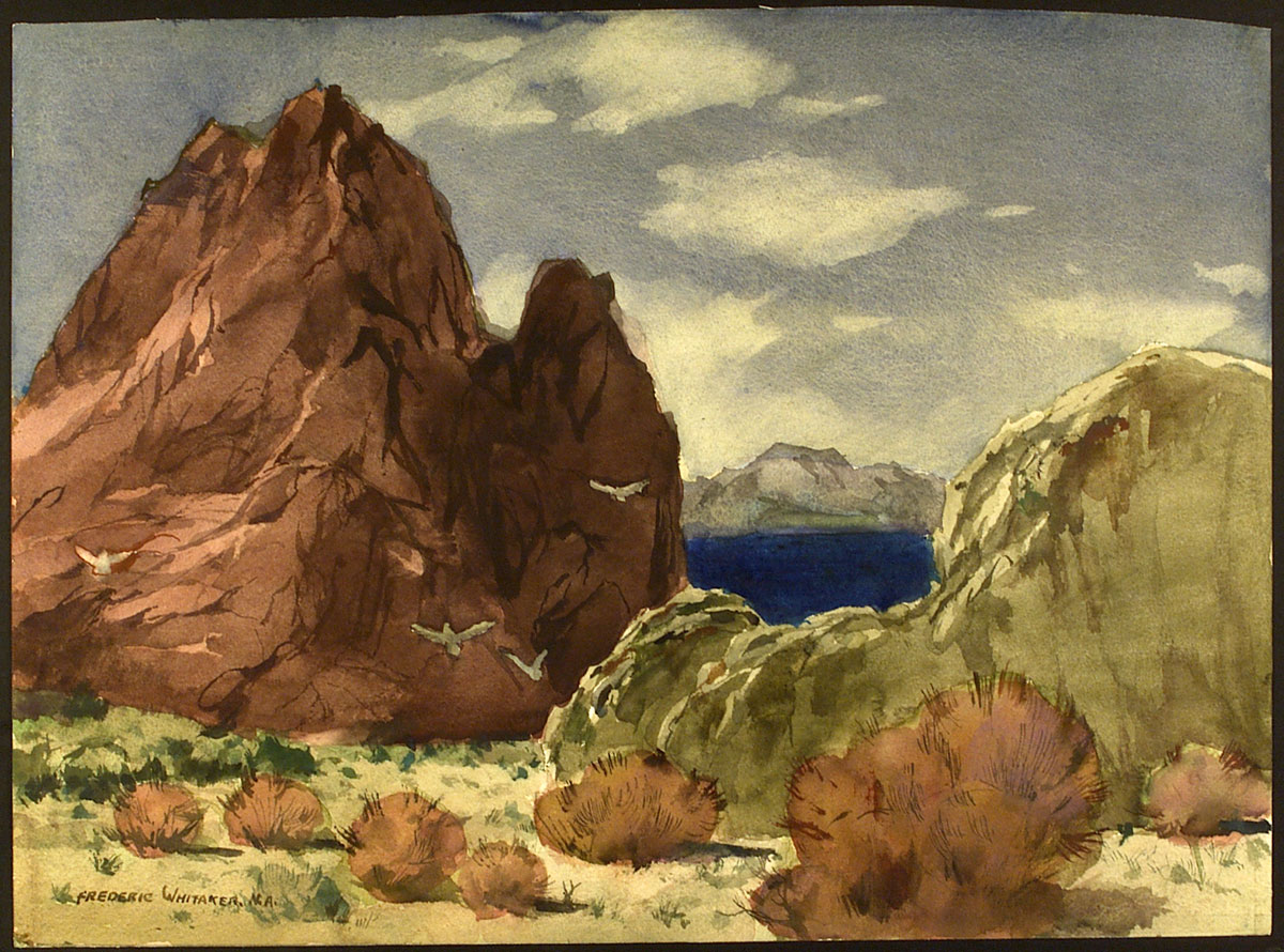 """""""Lake Among the Mountains"""" 1976 © Frederic Whitaker N.A. 22x30 inches Watercolor"""