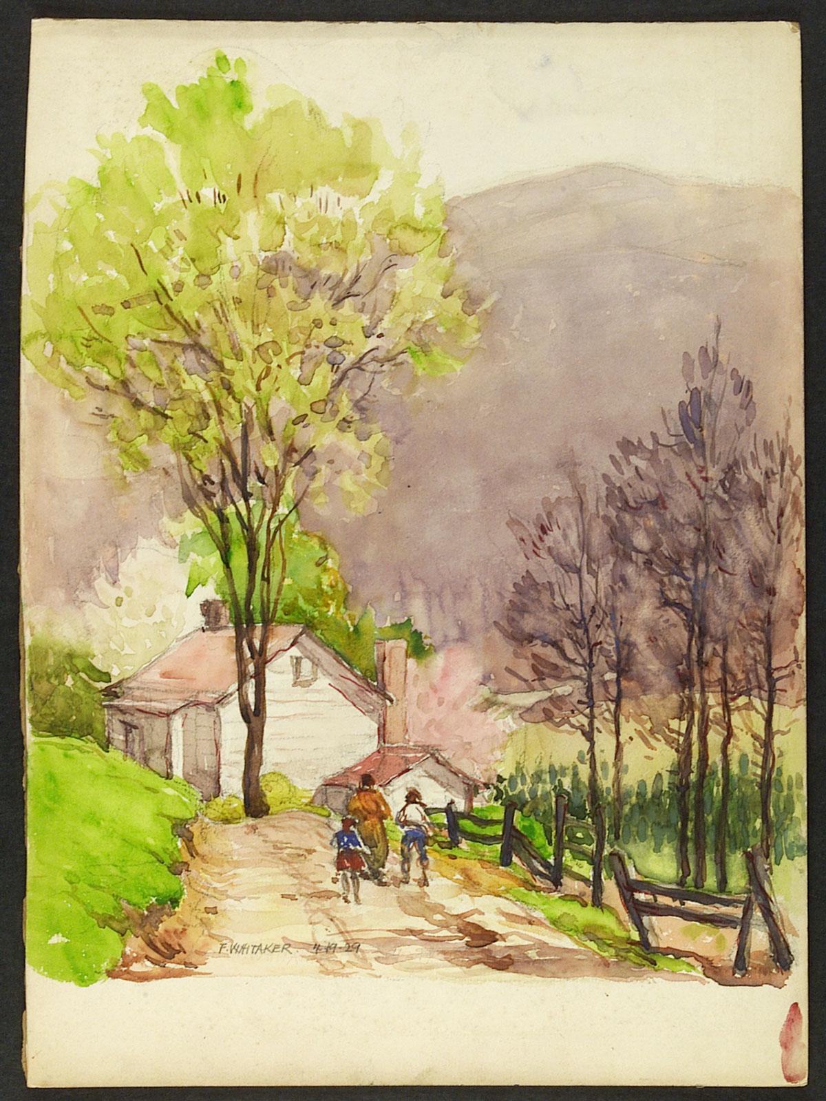"""""""Sinking Valley, Blain, Colorado"""" 1929 ©Frederic Whitaker 15x11 inches Watercolor"""