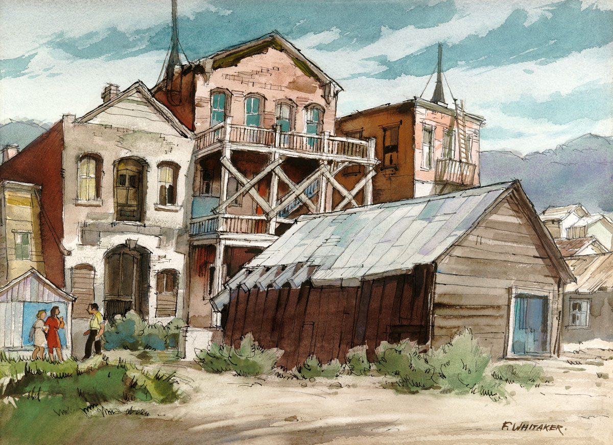 """""""View from the Rear: 1976 © Frederic Whitaker N.A.  17x22.5 inches Watercolor"""