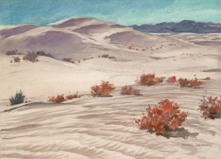 """""""White Sand Dunes"""" 1969 © Frederic Whitaker N.A.  16x22 inches Watercolor"""