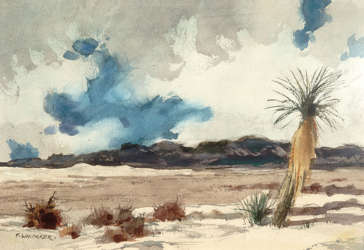"""""""White Sands"""" 1974 © Frederic Whitaker N.A.  22x24.5 inches Watercolor"""