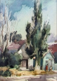 """Poplars"" 1967 © Frederic Whitaker N.A.  22x16.5 inches Watercolor"