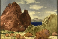 """Lake Among the Mountains"" 1976 © Frederic Whitaker N.A. 22x30 inches Watercolor"