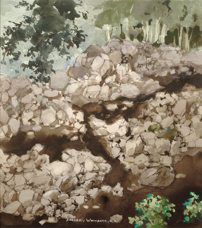 """""""Woodland Stream"""" 1975 © Frederic Whitaker N.A.  22x24.5 inches Watercolor"""