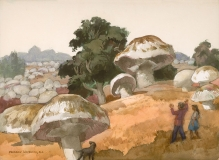 """Such Big Mushrooms! 1973 © Frederic Whitaker 22x30 inches Watercolor"