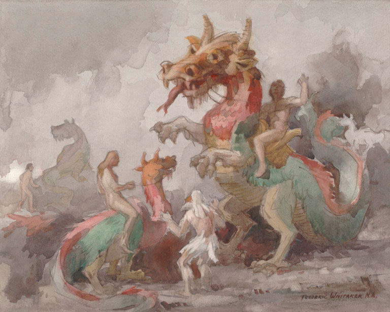 """""""Dragonland Revisited"""" 1967 © Frederic Whitaker 22x27.5 inches Watercolor"""