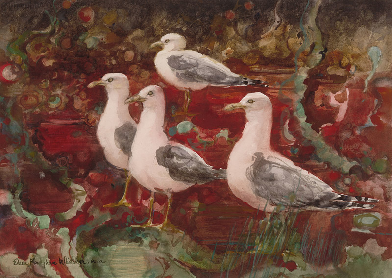 """Seagulls in a Red Tide"" 1981 © Eileen Monaghan Whitaker (size unknown) Watercolor"