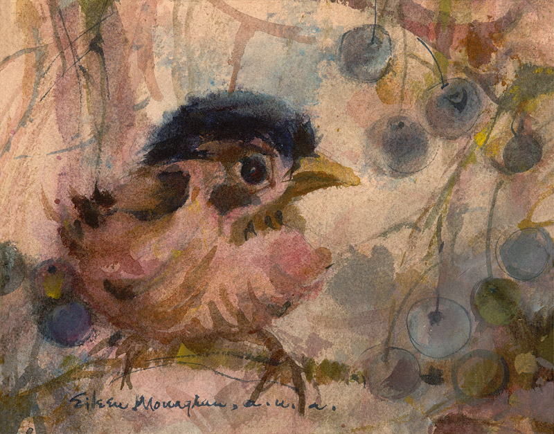 """Baby Bird"" 1980s © Eileen Monaghan Whitaker 7.8x10 incbes Watercolor"