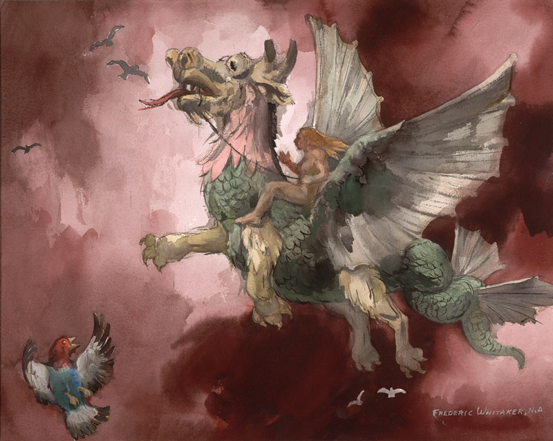 """Fully Equipped Dragon, In Flight"" 1972 © Frederic Whitaker 22x27.5 inches Watercolor"
