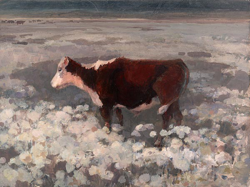 """Cow in Flower Field"" © Eileen Monaghan Whitaker (size and date unknown) Watercolor"