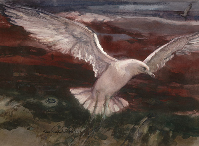 """Soaring"" 1970s © Eileen Monaghan Whitaker (size unknown) Watercolor"