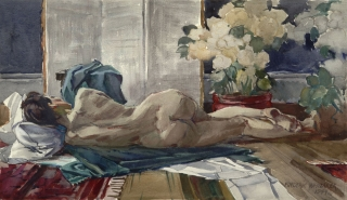 """""""Recumbant Nude"""" 1944 © Frederic Whitaker 16x27 inches"""
