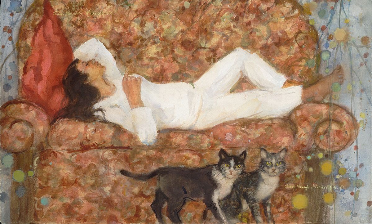 """Ah! What Sweet Repose!"" 1986 © Eileen Monaghan Whitaker N.A. 14x22 inches Watercolor"