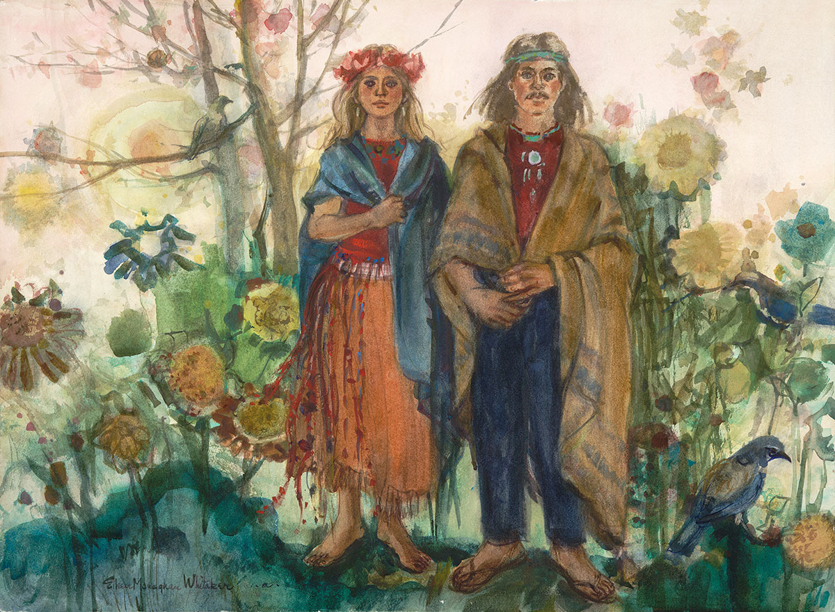 """Betrothed"" 1972 © Eileen Monaghan Whitaker 22x30 inches Watercolor"