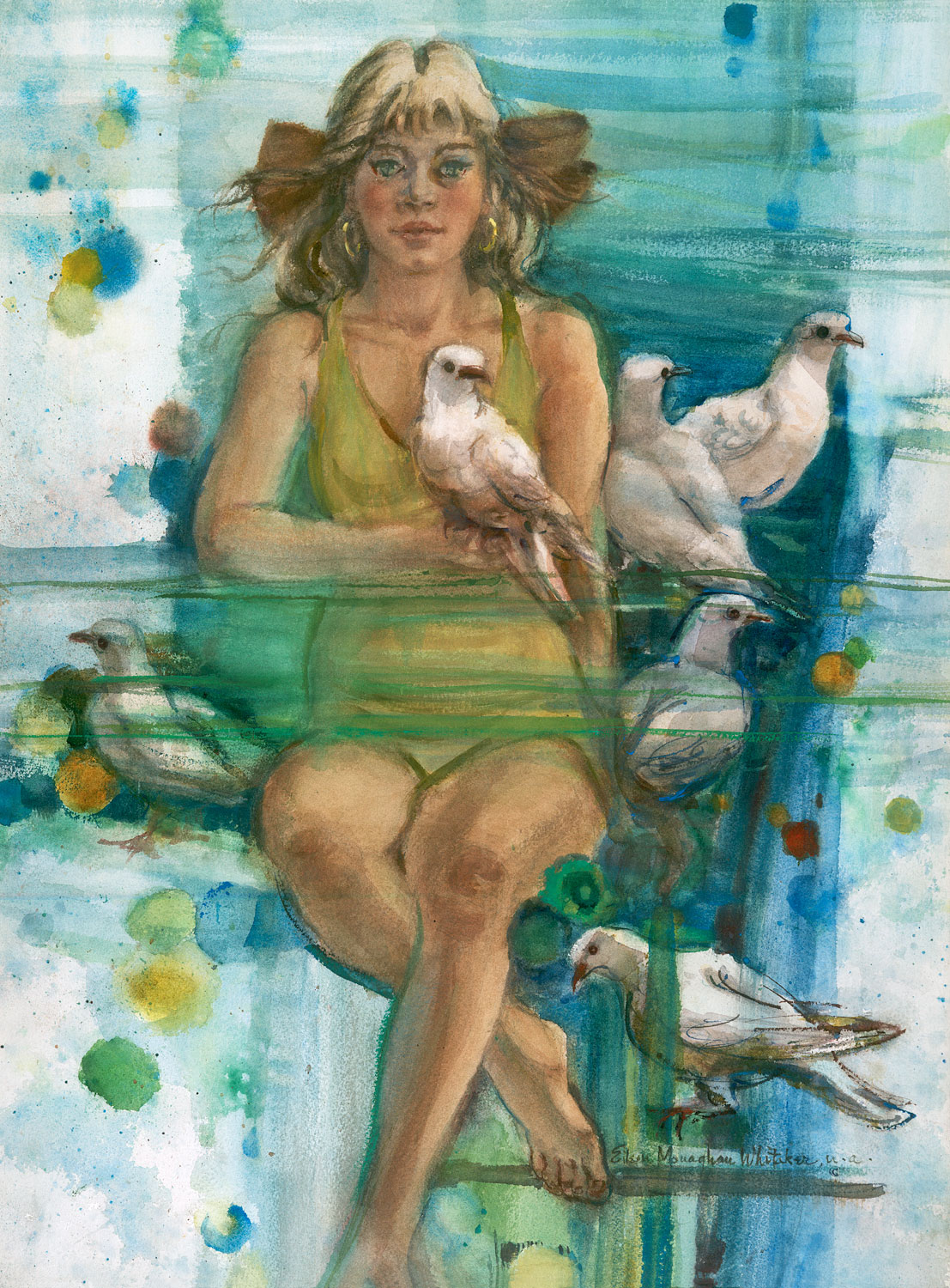 """Dove's Playmate"" 1970s © Eileen Monaghan Whitaker 30x22 inches Watercolor"