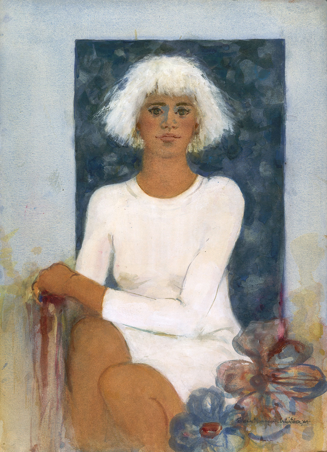 """Girl with White Hair"" © Eileen Monaghan Whitaker N.A. Watercolor"