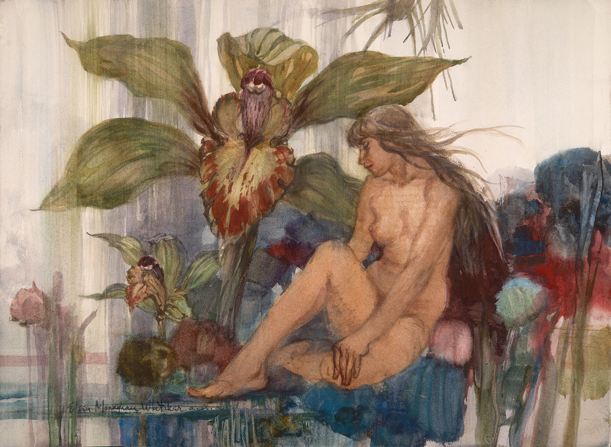 """""""Orchid"""" 1975 © Eileen Monaghan Whitaker 22x30 inches Watercolor"""