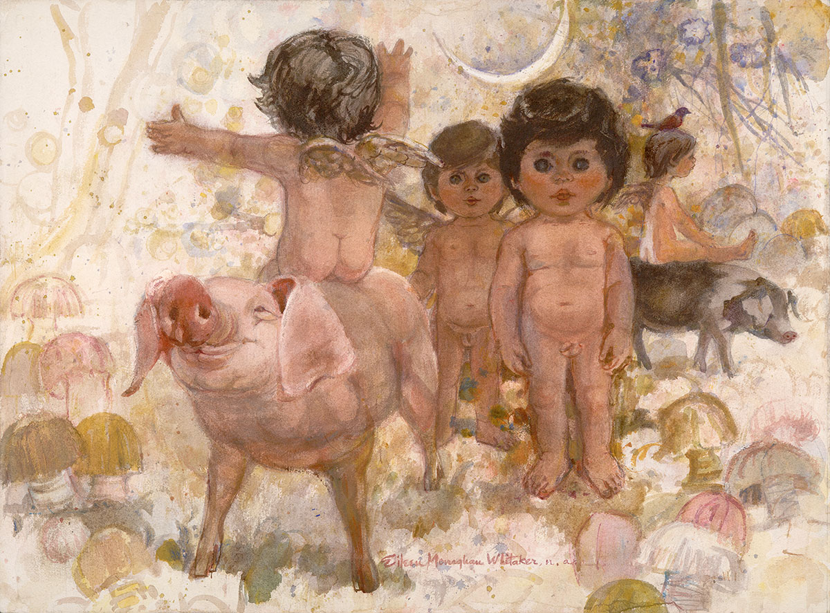 """Playtime"" 1970 © Eileen Monaghan Whitaker 22x30 inches Watercolor"