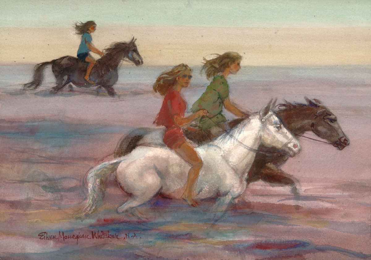 """Riding the Sea"" © Eileen Monaghan Whitaker 22x30 inches Watercolor"