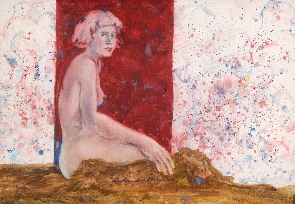 """Seated Nude"" 2000 © Eileen Monaghan Whitaker N.A. 13 7/8 x 19 7/8 inches Watercolor"