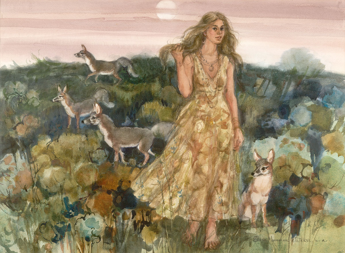 """""""She Charms the Little Foxes"""" 1978 ©Eileen Monaghan Whitaker 22x30 inches Watercolor"""