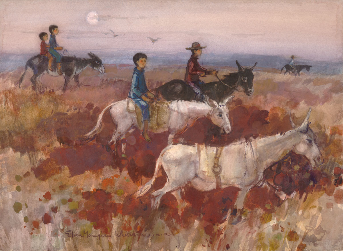 """Vaqueros"" 1968 © Eileen Monaghan Whitaker 22x30 inches Watercolor"