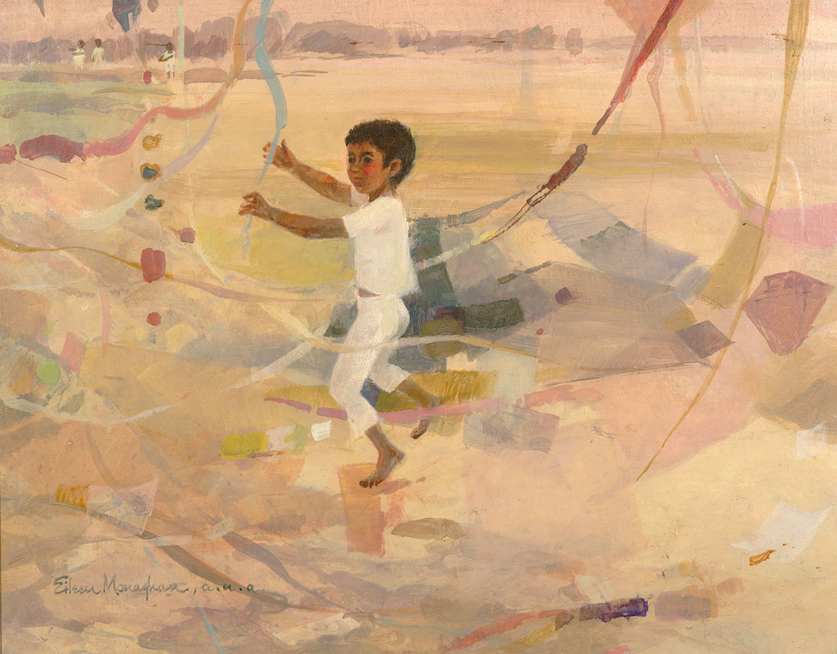 """Boy With Kites"" © Eileen Monaghan Whitaker (Size and date unknown)"