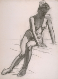 """""""Seated Nude Sketch"""" © Frederic Whitaker Charcoal Drawing"""